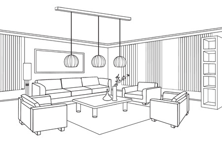 Interior outline sketch  Furniture blueprint  Vector