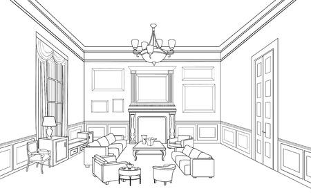 Drawing-room  Editable vector illustration of an outline sketch of a interior  Furniture blueprint   Illustration