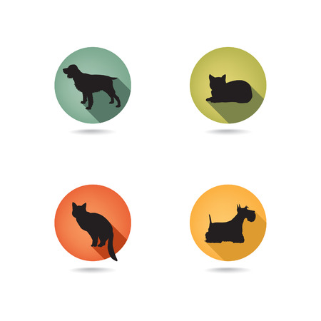 dog sleeping: Dog and cat set  Collection of vector pets icon silhouette