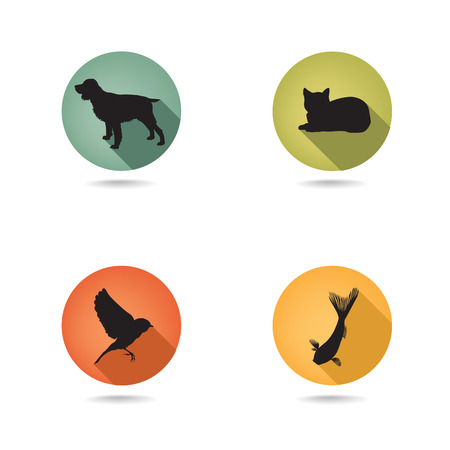 group of pets: Pet Icons Set  Vet  Symbols  Collection of vector pets icon silhouette  Illustration