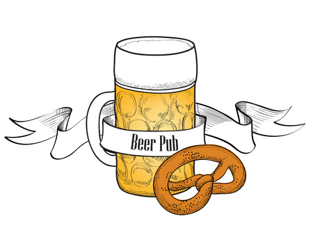 Beer symbol  Full Beer Glass with pretzel  Beer bar banner  Vector
