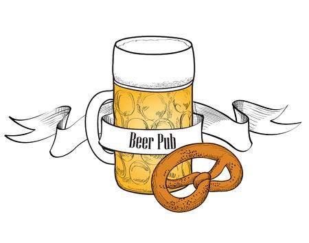 hanedan arması: Simit Bira çubuğu bayrağı ile Bira sembolü Tam Bira Bardağı Çizim