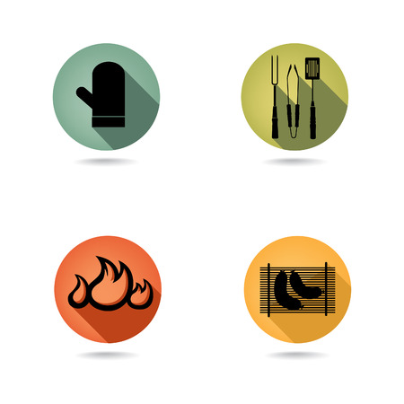 charcoal grill: Barbecue icons vector set  BBQ illustrations collection of silhouette