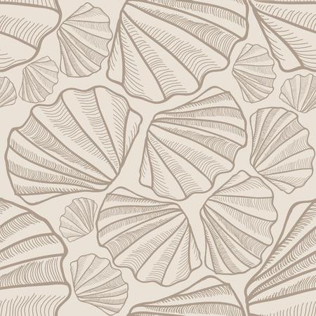 shell pattern: Shell seamless pattern  Sea shells vector background
