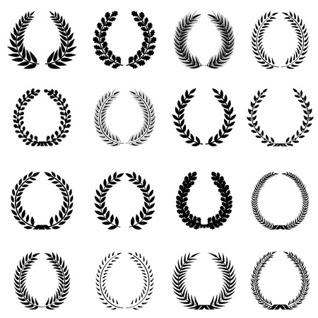 Laurel wreaths set  Silhouette symbbol collection