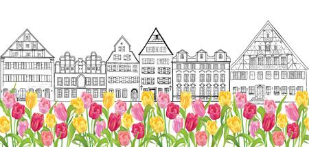 Los viejos edificios y casas de la calle del paisaje urbano de Amsterdam frontera sin problemas Foto de archivo - 29302849