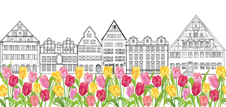 terraced: Old buildings and houses street  Amsterdam cityscape  Seamless border Illustration