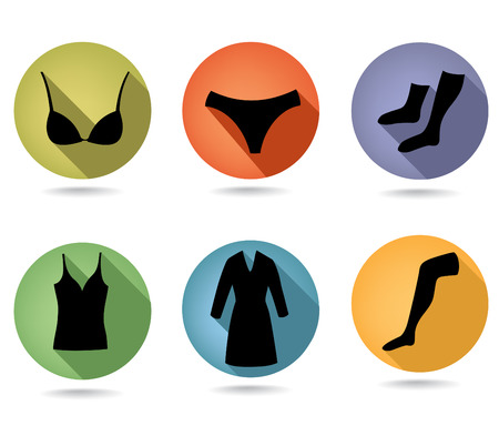 bathrobe: Fashion female underwear  Icon set  Button collection