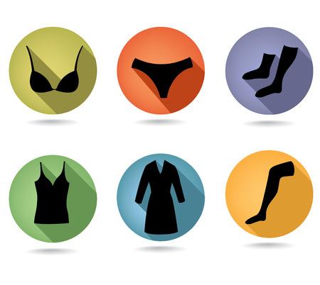 simbolo de la mujer: Icono de conjunto de ropa interior femenina de moda colección Button