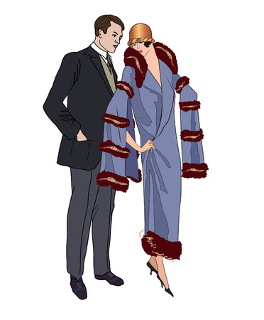 Man and woman in vintage style 1920 Vector