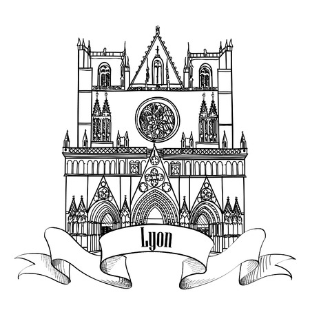 Lyon landmark  St John church  Symbol of famous building in  city of France  Vector