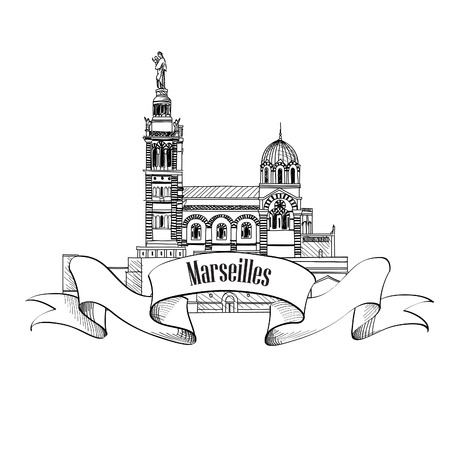 notre: Marseille landmark  City famoud building vector symbol  Travel France label