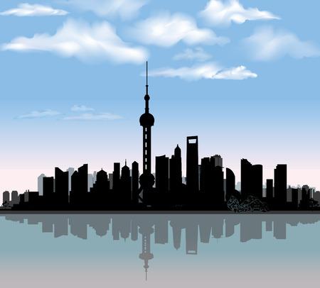 shanghai skyline: Shanghai city skyline detailed silhouette with reflection in water  Famous world landmark Chinese cityscape Vector illustration   Illustration