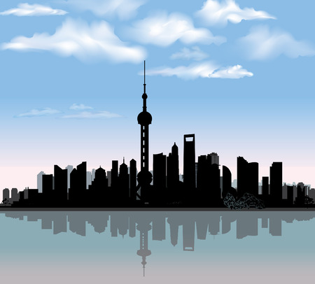 Shanghai city skyline detailed silhouette with reflection in water  Famous world landmark Chinese cityscape Vector illustration   Illustration