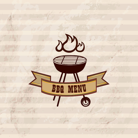 charcoal grill: Barbecue label over vintage pattern Illustration