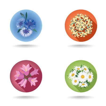Flower icon set. Vector