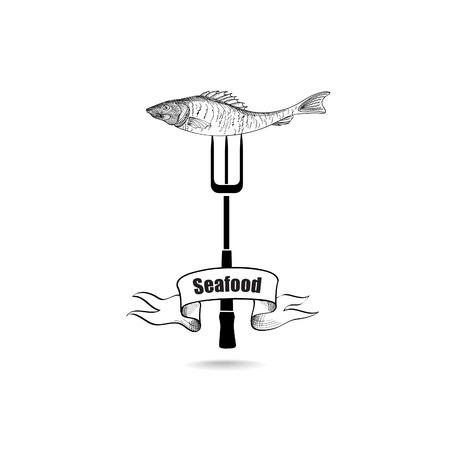 sea food: Sea Food Icon. Fresh fish menu label Illustration