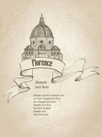 florence italy: Firenze punto di riferimento. Vintage sfondo. Viaggi Italia icona. Schizzo disegnato a mano. Cattedrale di Santa Maria del Fiore. Toscane simbolo carta da parati.