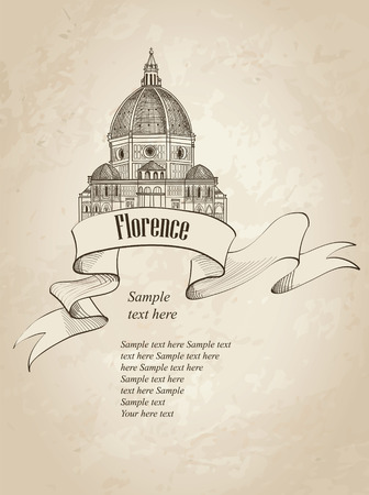 Florence landmark. Vintage background. Travel Italy icon. Hand drawn sketch. Cathedral Santa Maria del Fiore. Toscane  symbol wallpaper. Vector