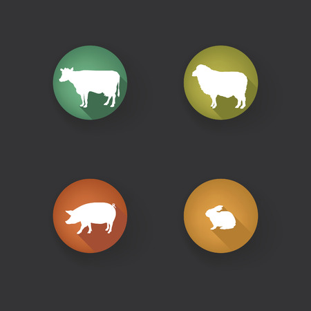 barnyard: Farm animals. Vector set silhouette. Livestock icons.