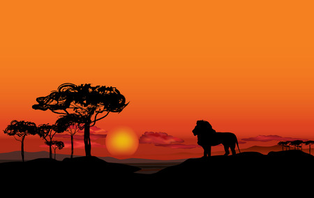 africa sunset: African landscape with animal silhouette Illustration