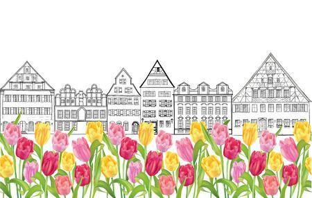 Oude gebouwen en huizen in Amsterdam met bloem tulpen steegje. Naadloze achtergrond. Stock Illustratie