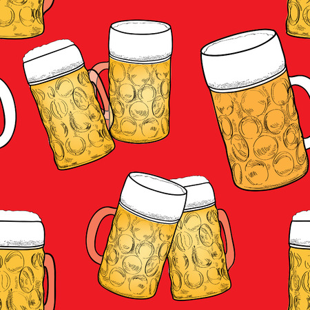 Beer pattern seamless background Vector