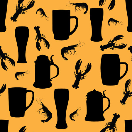 german beer: Beer pattern. Food seamless backbround Illustration
