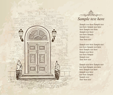 front gate: Front door european house. Elegant London townhouse. Vintag style background with copy space Illustration