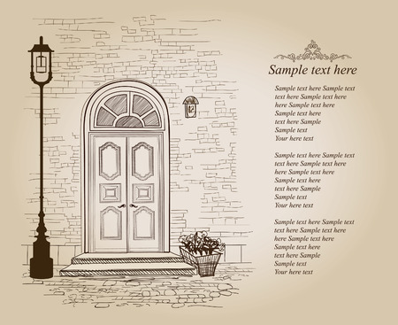 Front door European house. Elegant London townhouse. Vintage style background with copy space  Illustration