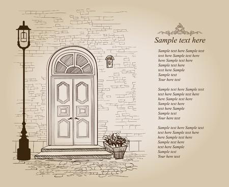 portone: Porta d'ingresso casa europea. Elegante residenza di Londra. Stile di sfondo Vintage con copia spazio