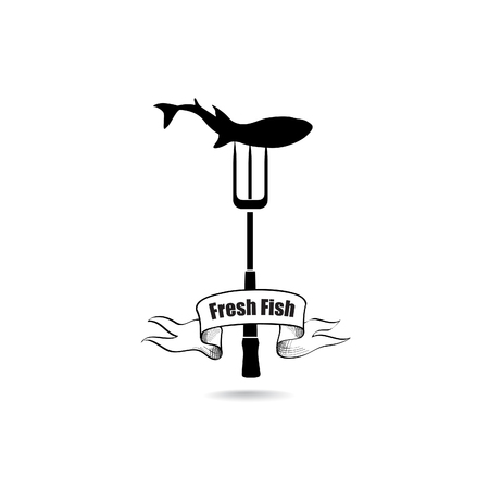 fishy: Sea Food Icon. Fresh fish menu label Illustration