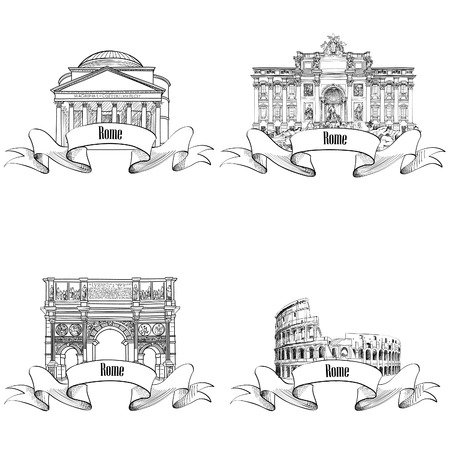 Rome city symbols set: Pantheon, Constantin Arch, Fontain, Colosseum Vector