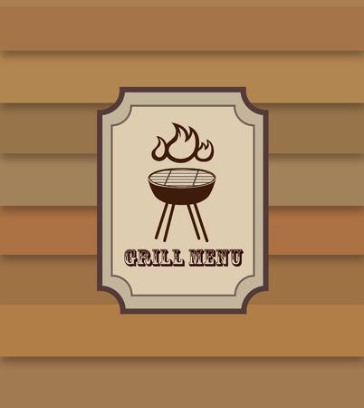 Grill menu retro banner design. BBQ food restaurant vintage poster design. Food and drink concept. Vector