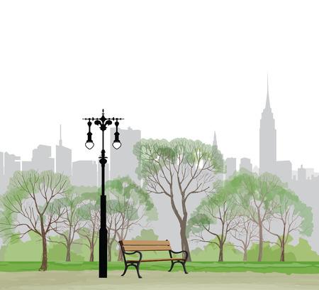 Banco e lampione nel parco su sfondo di città. Panorama di Central Park di New York. Stati Uniti d'America.