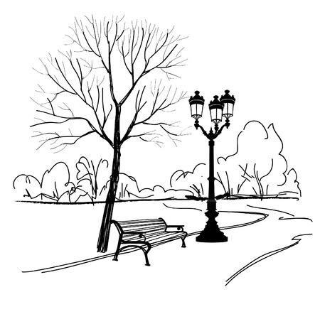 Bank im Park mit Baum und Laterne. Vektorgrafik