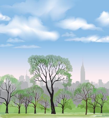 central park: Banco y farola en el parque m�s de fondo de la ciudad. Paisaje de Central Park en Nueva York. EE.UU.. Vectores