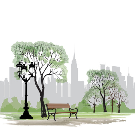 city park: Bench and streetlight in park over city background.  Landscape of Central Park in New York. USA.