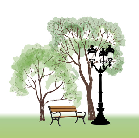 streetlamp: Bench in park with tree and streetlamp.