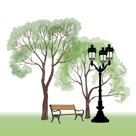 lyric: Bench in park with tree and streetlamp. Illustration