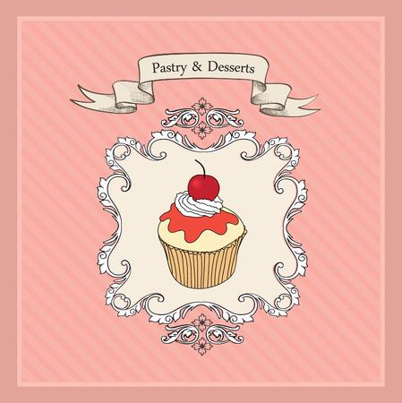 cakes background: Vintage Cakes Background. Retro Bakery Label.  Illustration
