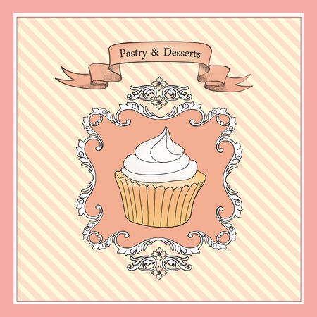 birthday cupcakes: Bakery Retro Label.