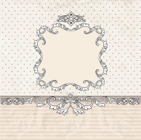 Floral vintage poster design with frame and copy space. Vector