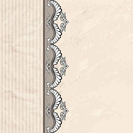 Floral border on vintage background. Vector