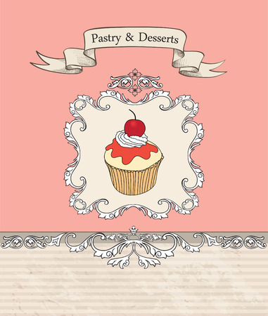 Vintage Cakes Bacground.  Vector
