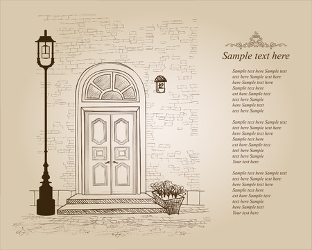 front gate: Front door European house. Elegant London townhouse. Vintage style background with copy space  Illustration