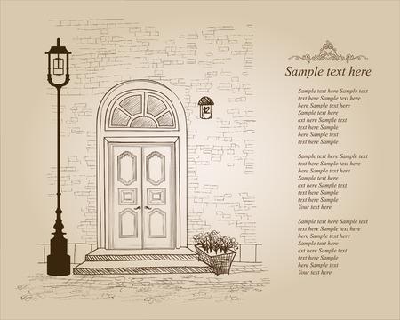 porte bois: Porte d'entrée de la maison européenne. Élégante maison de ville de Londres. Vintage fond de style avec copie espace Illustration