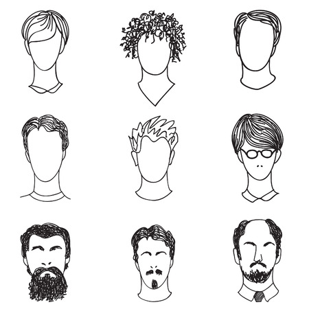 style advice: Men with various hair style and beard. Man avatar set.  Handsome characters in  flat design.