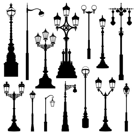 gas lamp: Street lamp set. Street lights retro collection.