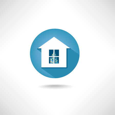 simple house: Home  icon. Circle blue button with shadow